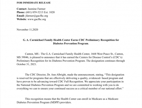 G.A. Carmichael Family Health Clinic Earns CDC Preliminary Recognition for Diabetes Prevention Program