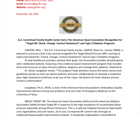 "G.A. Carmichael Family Health Center Earns The American Heart Association Recognition for ""Target BP: Check. Change. Control Cholesterol"" and Type 2 Diabetes Programs"